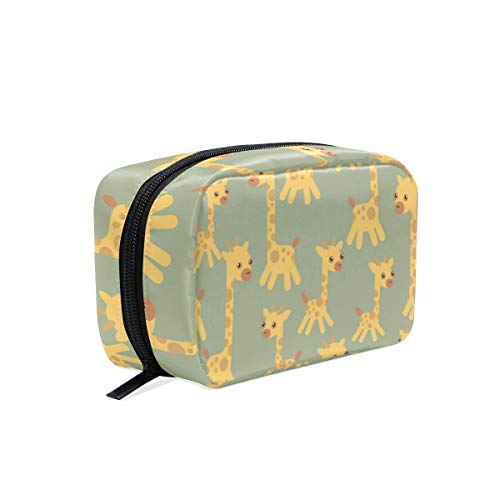 Cosmetic Bag with Zipper Cute Cartoon Giraffe Clutch Travel Storage Bag Organizer Case for Women Makeup Pouch Bag