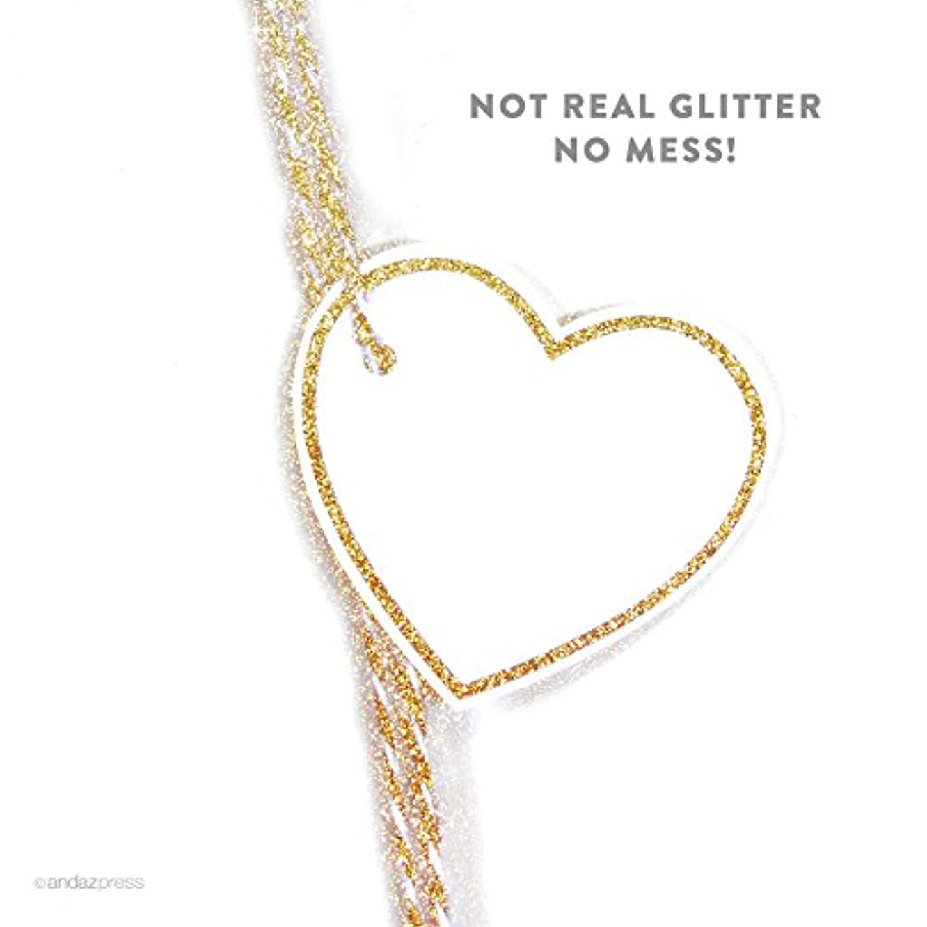 Andaz Press Heart Gift Tags, Solid Border, Blank, Printed Gold Glitter, 30-Pack