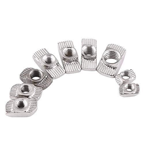 T Nutmuttern, 50-tlg T Muttern, M4 M5 M6 Kohlenstoffstahlmutter, für Aluminiumprofil Zubehör(EU40-M6 x 19,5 x 8)