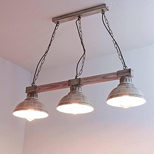 Hängeleuchte Esstisch Vintage weiß Holz und Metall Pendelleuchte Esszimmer rustikal 3x E27 bis zu 60 Watt 230V Retro Küche Shabby Chic Lampe