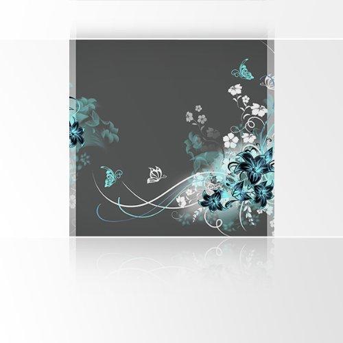 LANA KK liefdevol fotobehang poster behang, edele kunstdruk op vliesbehang in 180 x 180 cm, grijs turquoise