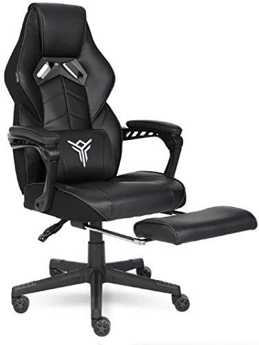 ELECWISH Gaming Chair Ergonomic High Back Racing Style with Adjustable Armrest and Retractible Footrest PU Leather Back Recliner Swivel Rocker Office Chair Black