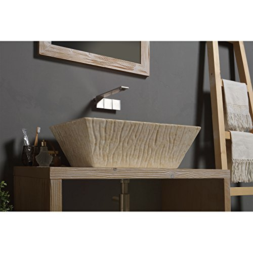 Vasque Lavabo à Poser/Suspendu Rectangulaire Pietra Botticino en céramique 60x40xH20 cm (Effet marbre botticino avec bassin blanc)