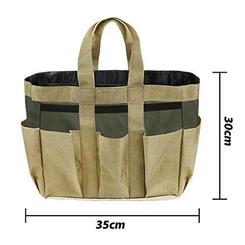Garden Tote,Tool Bags Gardening Tote Bag Outdoor Multi Pocket Garden Tool Kit Holder Bag Compact Hand Tool Gardeners Storage Bag Tote Organizer Yard Plant Tool Carrier Bag Pouches (Light Brown)