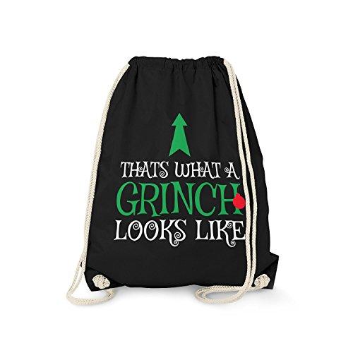 Fashionalarm Turnbeutel - Thats What A Grinch Looks Like | Fun Rucksack mit Spruch als Geschenk Idee Weihnachten Heiligabend für Weihnachtsmuffel, Farbe:schwarz