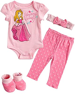 Disney Baby Girls Newborn Minnie Mouse 4-Piece Bodysuit Pants Layette Set with Booties (Pink Princess Aurora, 0-3 Months)'