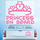 HungMieh Princess on Board Sticker for Car Window, Windshield and Body, Die Cut Vinyl Kids Safety Stickers and Signs, Baby Girl on Board Decal Pink (7.'x5.7)