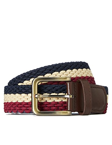 Marca Amazon - find. Cinturón Trenzado para Hombre, Multicolor (Navy/ecru/burg), S, Label: S