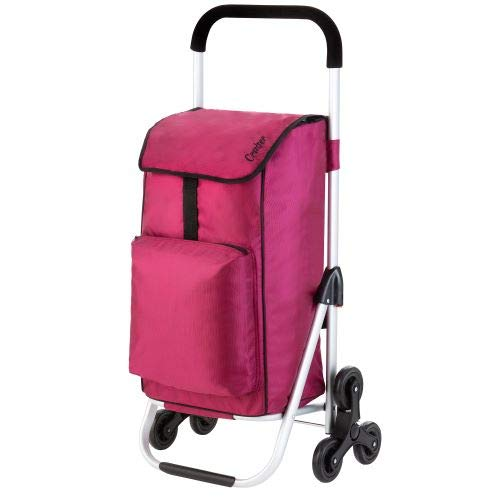 Cruiser Einkaufswagen Treppensteiger 49+4 Liter - Einkaufstrolley 2 x 3 räder mit Kuhlfacher rosa