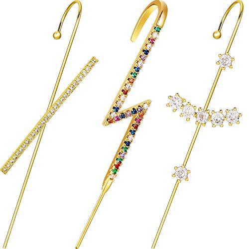 3 Piezas Pendientes Crawler de Orejas Pendientes Gancho Orugas Envoltura Manguito Oreja Joyería de Oreja de Diamantes Imitación para Mujeres Niñas San Valentín Boda (Estilo Chic)