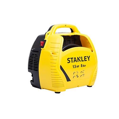 Stanley Compressore d'aria con acessori, 1.5 HP fino a 8 Bar, 1100 W, 230 V, Rumorosità 97 dB, Giallo/Nero