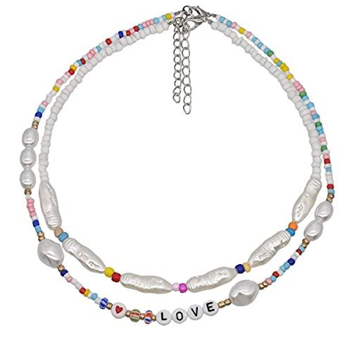 xuyang Collar para mujer con cuentas de perlas y letras bohemias multicapa para mujer, accesorios de joyería (color metálico: zinc azul)