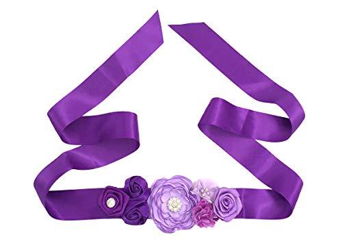 Cintura in vita da donna con cintura cucita a fiori (viola)