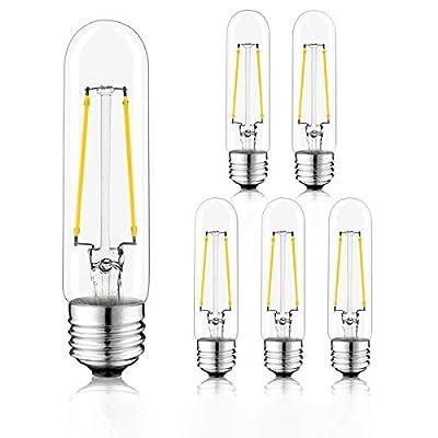 Novelux T10 Led Bulbs, 6 Pack, Tubular Light Bulb 5 Inch, Dimmable Edison T10 Light Bulb 4W, E26 Medium Base Led Bulb UL Listed, (Cool White 4000K, Pack of 6)