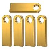 USB Flash Drive,5 Pack 32GB Memory USB Stick U Disks Stick Pen 2.0 Data Storage Thumb Drives (Golden5)