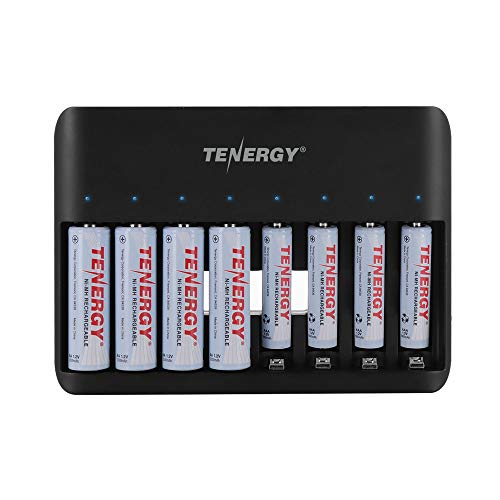 Tenergy TN477U 8-Bay Fast Charger for NiMH/NiCD AA AAA Rechargeable Batteries with 4pcs 2500mah AA and 4pcs 1000mah AAA Rechargeable Batteries