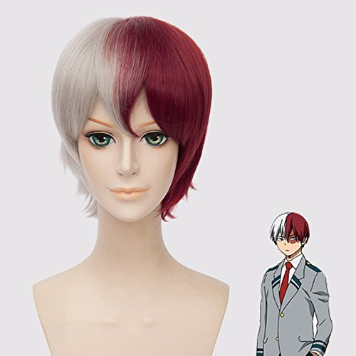 Mersi Short Cosplay Wig Todoroki Wigs for My Hero Academia Half Silver White Half Red Anime Party Costume Wigs S040