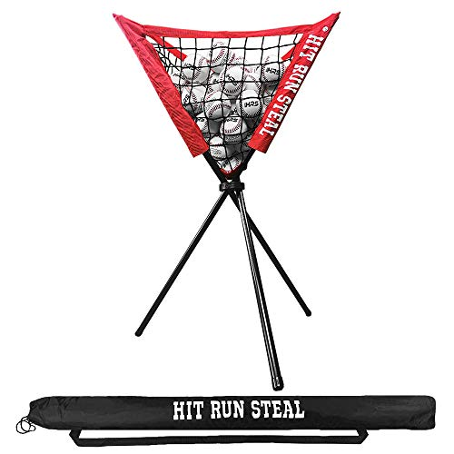 Hit Run Steal Ball Caddy for Baseball/Softball - Great Stand to Hold Baseballs or Softballs for Pitching or Batting Practice. This Hopper Can Hold A Full Bucket of Balls.