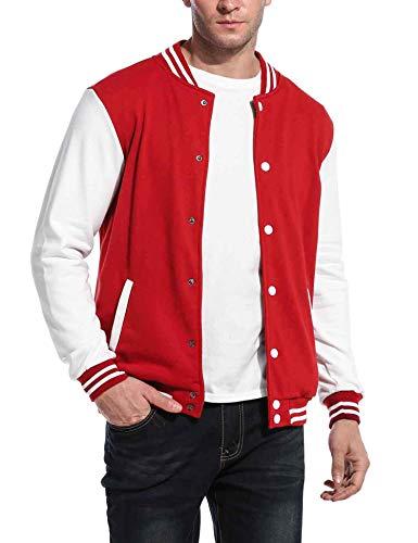 COOFANDY Mens Slim Fit Varsity Baseball Jacket Bomber Cotton Premium Jackets Red