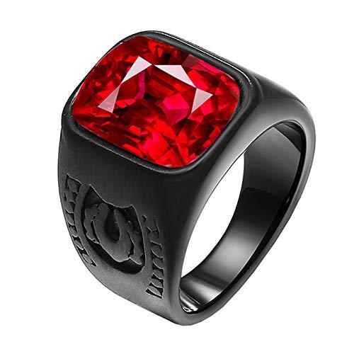 HIJONES Cuadrado Rojo Vaso Piedras Boda Promesa Anillo para Hombres Acero Inoxidable Tallado Negro Talla 19