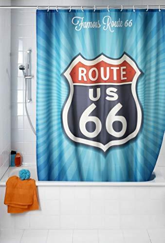 WENKO Cortina de ducha Vintage Route 66 Antimoho - antibacterial, lavable, Poliéster, 180 x 200 cm, Multicolor