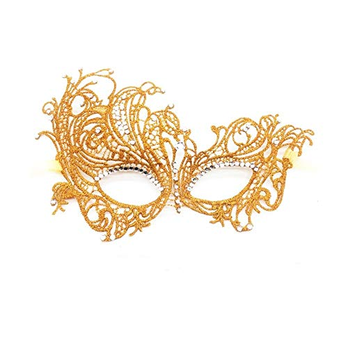 Lace Masquerade Mask,Fit for Adult,Soft Gentle Material,Specially for Costume,Thememed Party (Royal Diamond) Gold