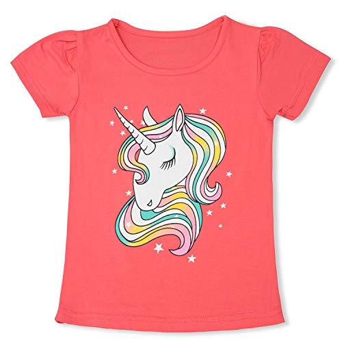 TTYAOVO Camiseta de Algodón Unicornio para Niñas, Camiseta de Manga Corta para Niños Camiseta de Impresión Unicornio Lindo Tamaño 5-6 Años Unicornio-Rosa