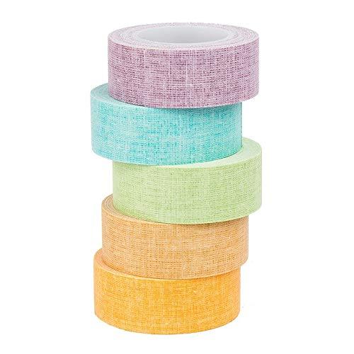 Deko-Stoff-Klebeband, Farbsortierung 2, 20mm x 5m, 5 Rollen | Washi Tape | Masking Tape | Dekoband | Stoffklebeband
