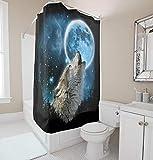 KaiXINSun Moon Wolf Bad Duschvorhang Polyester Tuch Wasserdicht Staubdicht Und Langlebig Bad Vorhang 180X180Cm