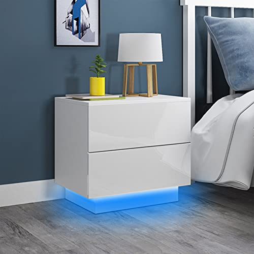 Dripex Bedside Table Cream High Gloss Front Drawer Side Table with RGB Strip Light Chest of 2 Drawers Bedside Cabinet for Bedroom Living Room 55x37x50cm (White)
