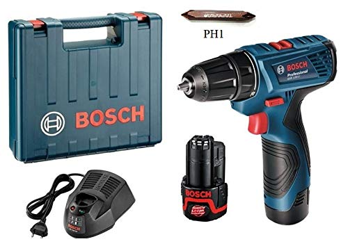 PROFESSIONAL Bosch GSR120-Li Cordless Drill Driver, 12V Single Battery with Taparia PH1 Screw bits