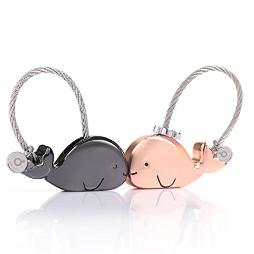 MILESI Sweet Kissing Whale Couples Keychains Birthday Present Valentine's Gift Anniversary for him and her