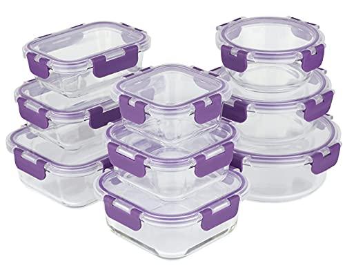 Home Planet Boite Alimentaire Verre | Boite Verre | 18 pièce (9 récipient, 9 couvercle améliorés) | Pas d'emballage en plastique | Sans BPA | Boite de Conservation Alimentaire