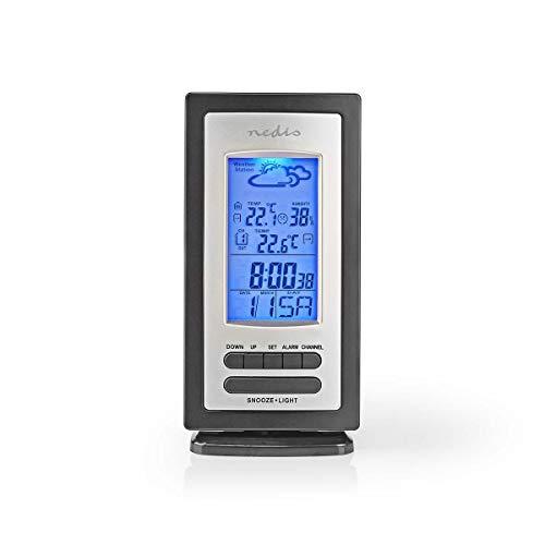 NEDIS Staion météo - Intérieur et extérieur - Y Compris capteur météo sans Fil - Prévisions météorologiques - Écran LCD rétro-éclairé - avec Affichage de l'heure - Incluant la Fonction de réveil