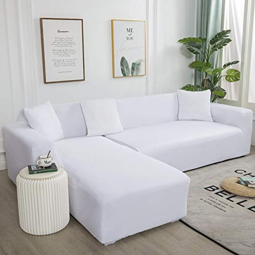 Funda de sofá de Esquina Simple de Color Puro Funda de sofá elástica Funda de sofá Lavable Toalla de sofá elástica Funda de sofá en Forma de L A22 2 plazas