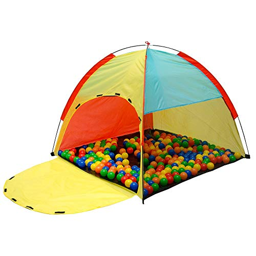 LittleTom Bällebad Spielzelt 122x122x107cm - Baby Ball-Spielhaus Kinder-Zelt Bunt