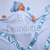 AmazingItems Large Personalized Baby Blanket (Blue) - 36x36 Inch, Satin Trim, Fleece - Baby Receiving Blankets w/Initial and Name - Baby Boy and Girl Gifts, Baby Stuff, Newborn Gifts