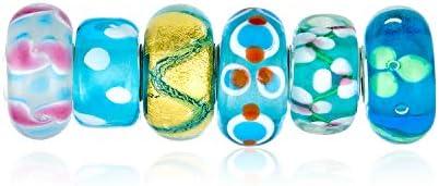 Bling Jewelry Cristal Murano Flor Azul Verde Establecer Abalorio Eparador Juego Mujer Adolescente Unión Pulsera Plata Esterlina 925