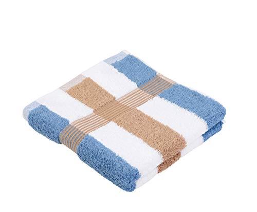 Gözze Handtuch 2er-Set, 100% Baumwolle, 50 x 100 cm, New York, Streifen, Marone/Weiß/Fjord, 555-9700-A4