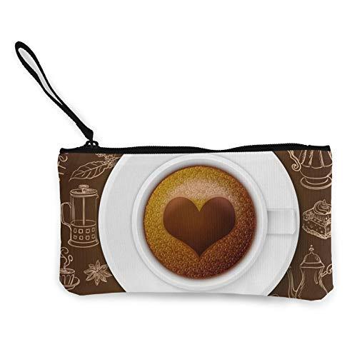 Monedas de lona, juego de café vintage con monedero de corazón, bolsa de cosméticos de viaje con cremallera, bolsas de maquillaje multifunción para teléfono móvil, paquete de lápices con asa