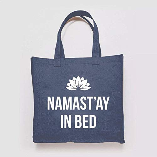 Namaste Namastay en la cama Yoga Mamá Chill Nature Quirky Patrón de ilustración tejido de lona para la compra bolsa reciclada para ir al gimnasio o la playa