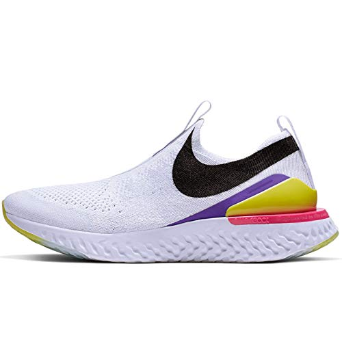 Nike Women's Epic Phantom React Flyknit Running Shoes, White/Black-laser Fuchsia-psychic Purple, 9