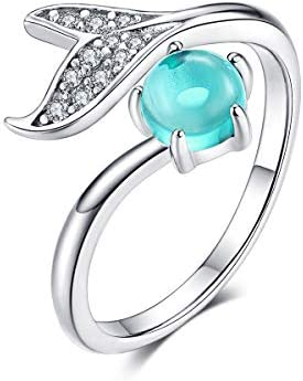 Animal Mermaid Tail Rings for Women Sterling Silver Dolphin Tail Adjustable Open Ocean Pearl product image