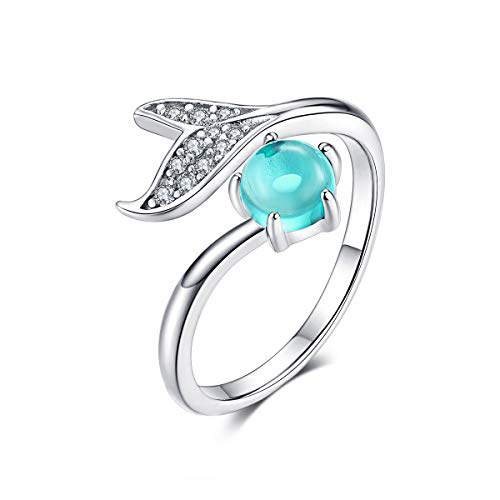 Animal Mermaid Tail Rings for Women Sterling Silver Dolphin Tail Adjustable Open Ocean Pearl Ring for Teen Girls Mother's Day Christmas Jewelry Gift (Mermaid Ring)