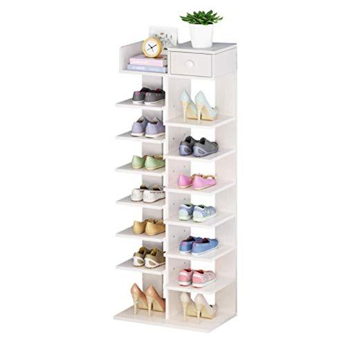FGVBC Zapatero de Madera de 8 Niveles |Organizador de Almacenamiento de Zapatos | MDF ecológico Independiente, Adecuado para Esquinas, Ahorro de Espacio, Muebles para el hogar, Color Blanco