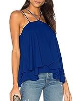 ALLY-MAGIC Women's Chiffon Tank Tops Sleeveless Double Strap Layered Blouse Loose Summer Cami Tank Tops Shirts C4732(XL, Royal1)