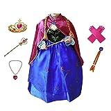 Anbelarui Prinzessin Kleid Mädchen Langes Festliches Karneval Kinder Glanz Kleider Weihnachten Verkleidung Karneval Partei Kostüm Outfit Halloween Fest(09 Kleid&zubehör,120 -
