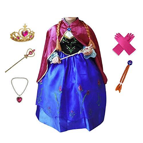 Anbelarui Prinzessin Kleid Mädchen Langes Festliches Karneval Kinder Glanz Kleider Weihnachten Verkleidung Karneval Partei Kostüm Outfit Halloween Fest(09 Kleid&zubehör,130