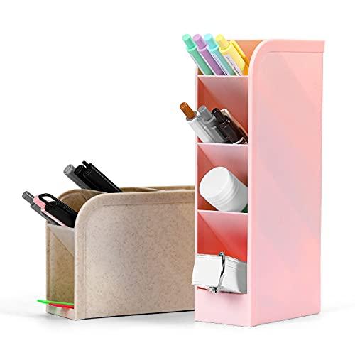 ペン立て ペンスタンド,DETTU斜めに設置されたペンホルダー,大容量 ぺんたて おしゃれ,5格,2ピース,ピンク&ベージュ,多機能分類箱 卓上収納 文房具 収納 便利 オフィス 化粧品収納ボックス