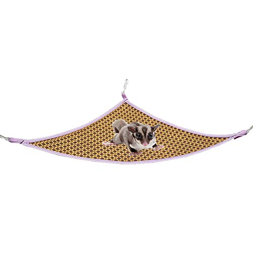 LeerKing Small Animals Hammock Hanging Hamster Summer Cool Rattan Mat Beds for Cage Mats House Cage Nests with 3 Styles for chinchilla, rat, squirrels, Guinea pig, Ferret, Triangle Shape x 2 sets